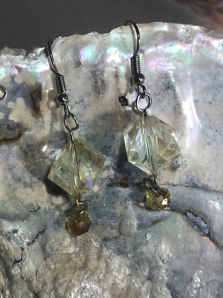 Crystal Cube Earrings with Stainless Steel Ear wires