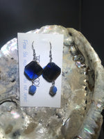 Blue and Gold Drop Earrings with Stainless Steel Ear wires