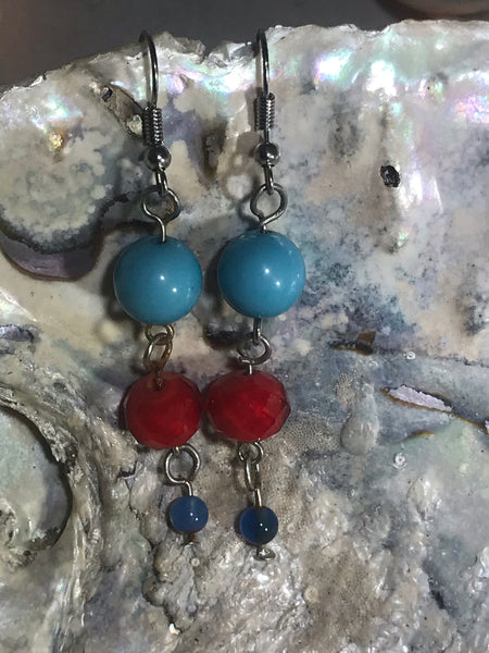 Red and Turquoise Drop Earrings with Stainless Steel Ear wires