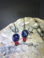 Blue and Red Drop Earrings with Stainless Steel Ear wires
