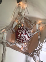 Small Hand Painted Red and White Glass Ornament with Henna Art