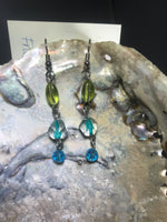 Green and Turquoise Drop Earrings with Stainless Steel Ear wires