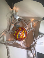 Small Hand Painted Red and Orange Ornament with Henna Art on White Satin Glass Bulb