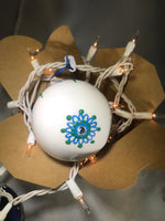 Large Hand Painted Ornament with Henna Art in Blue and Green