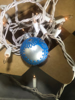 Small Hand Painted White Satin Glass Ornament with Henna Art in Blue