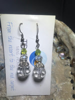 Green and Crystal Drop Earrings with Stainless Steel Ear wires