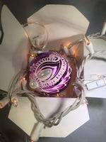 Medium Hand Painted Purple and White Glass Ornament with Henna Art