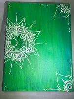 Green and White Acrylic on Canvas Henna Painting