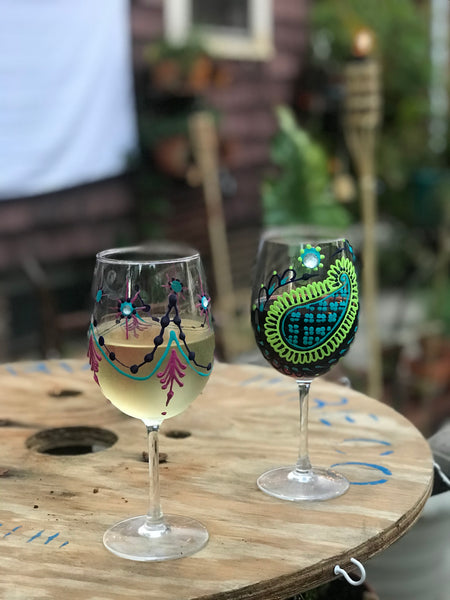 Hand Painted Wine Glasses in Colorful Henna Design
