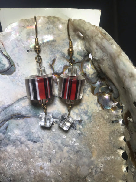 Red and Black Drop Earrings with Stainless Steel Ear wires