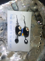 Black and White Drop Earrings with Stainless Steel Ear wires