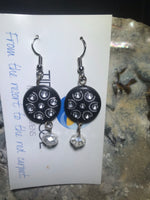Black and Silver Drop Earrings with Stainless Steel Ear wires