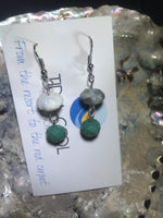 Green and Earthtone Earrings with Stainless Steel Ear wires