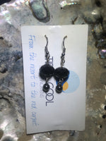 Black Drop Earrings with Stainless Steel Ear wires