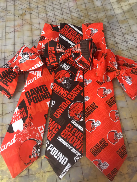 Cleveland Browns NFL Neckties in bow tie, skinny tie, and standard tie styles, kids or adult sizes