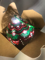 Extra Large Hand Painted Clear Glass Ornament with Red and Green Henna Art