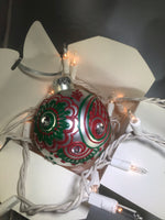 Large Hand Painted Red and Green Christmas Ornament with Henna Art on White Satin Glass Bulb