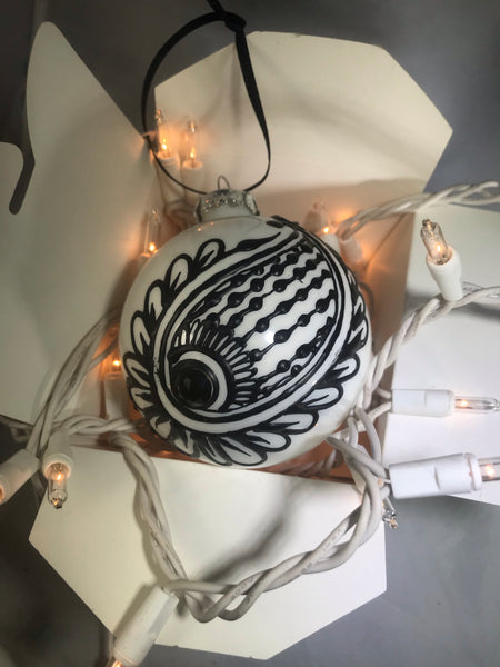 Large Hand Painted Ornament with Henna Art in Black and White