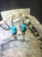 Turquoise and Crystal Drop Earrings with Stainless Steel Ear wires