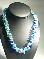 Blue and Turquoise Spiral Woven Hand Beaded Necklace