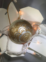 Large Hand Painted Ornament with Henna Art on White Satin Glass Bulb