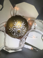 Large Hand Painted Ornament with Henna Art on Gold Glass Bulb
