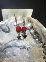 Red and Steel Star Drop Earrings with Stainless Steel Ear wires