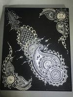 Black, Silver and White Acrylic on Canvas Henna Painting