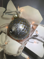 Large Hand Painted Ornament with Henna Art on Gold Glitter Glass Bulb