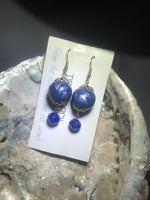 Blue and Silver Drop Earrings with Stainless Steel Ear wires