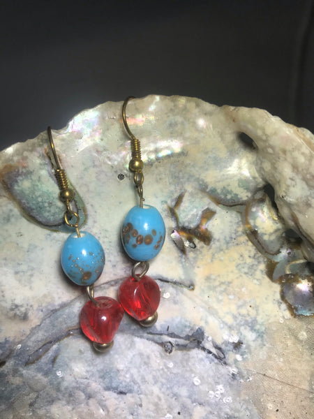 Turquoise and Red Drop Earrings with Stainless Steel Ear wires