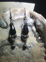 Black And Silver Earrings with Stainless Steel Earwires