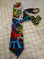 Rainbow Piano Music Face Mask or Neckties in bow tie, skinny tie, and standard tie styles, kids or adult sizes