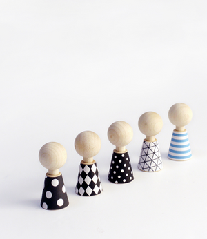 Rock and Pebble Wooden Doll Set - Modern