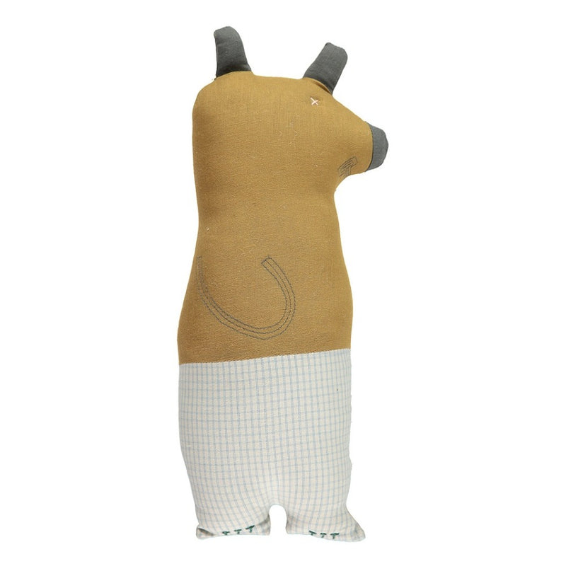 Camomile London Animal Cushion Bear Double Check Ochre - Alfie Wild