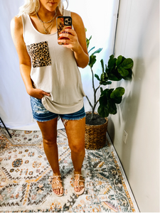 BONE LEOPARD POCKET TANK - PLUS AVAIL
