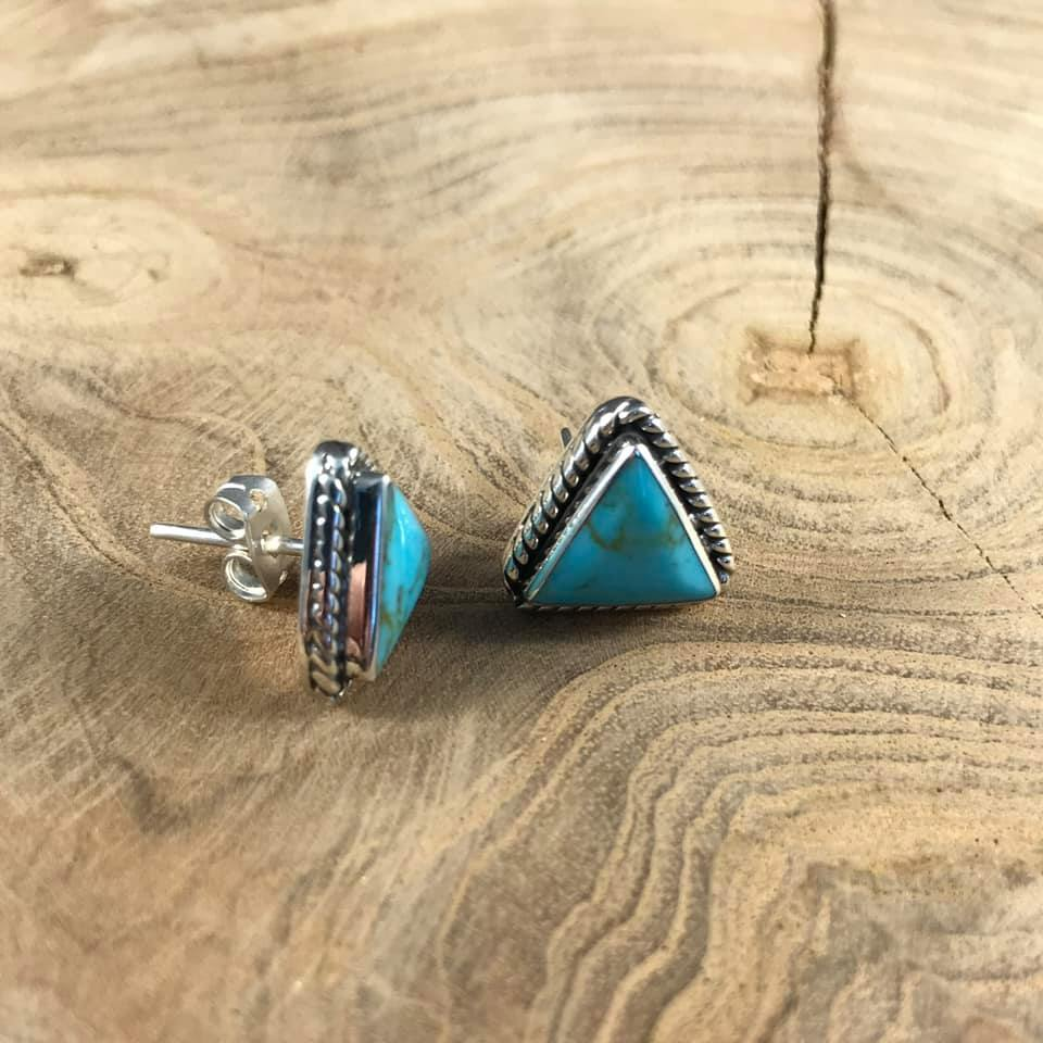 AUTHENTIC TURQUOISE TRIANGLE STUDS