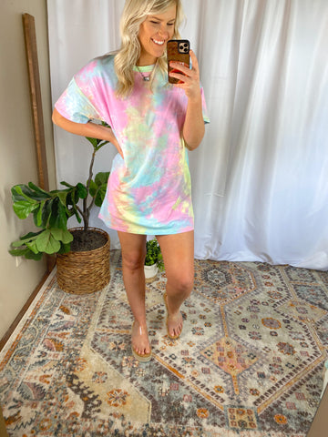 UNICORN TIE DYE TSHIRT DRESS