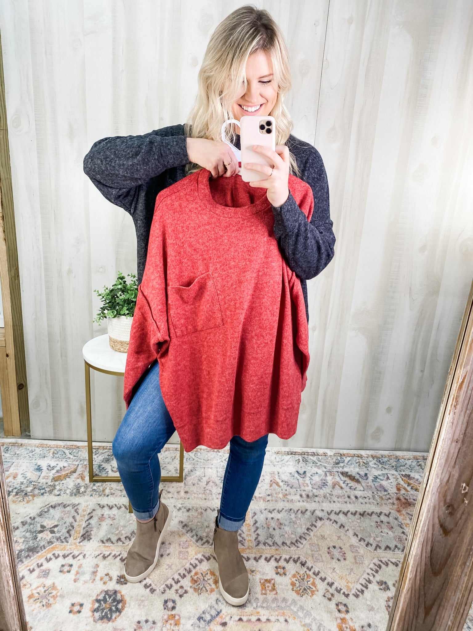 RED GIRL NEXT DOOR SWEATER - Plus Avail.