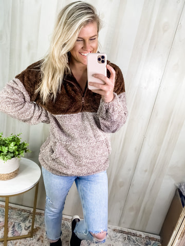 BROWN SHERPA PULLOVER