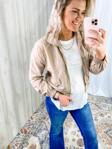 KHAKI GOLD BOMBER JACKET
