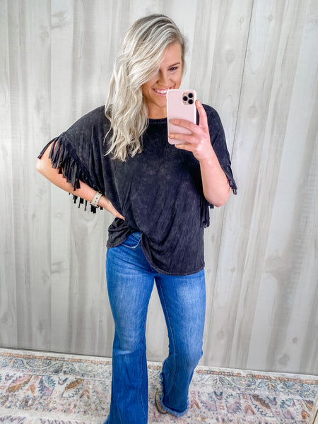 MINERAL DYED FRINGE TOP
