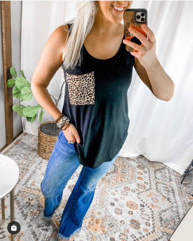 BLACK LEOPARD POCKET TANK - PLUS AVAIL