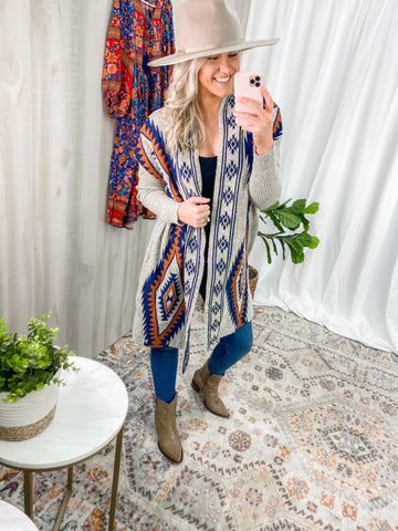 RUST/BLUE AZTEC CARDIGAN
