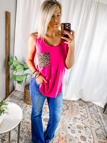 HOT PINK LEOPARD POCKET TANK - PLUS AVAIL