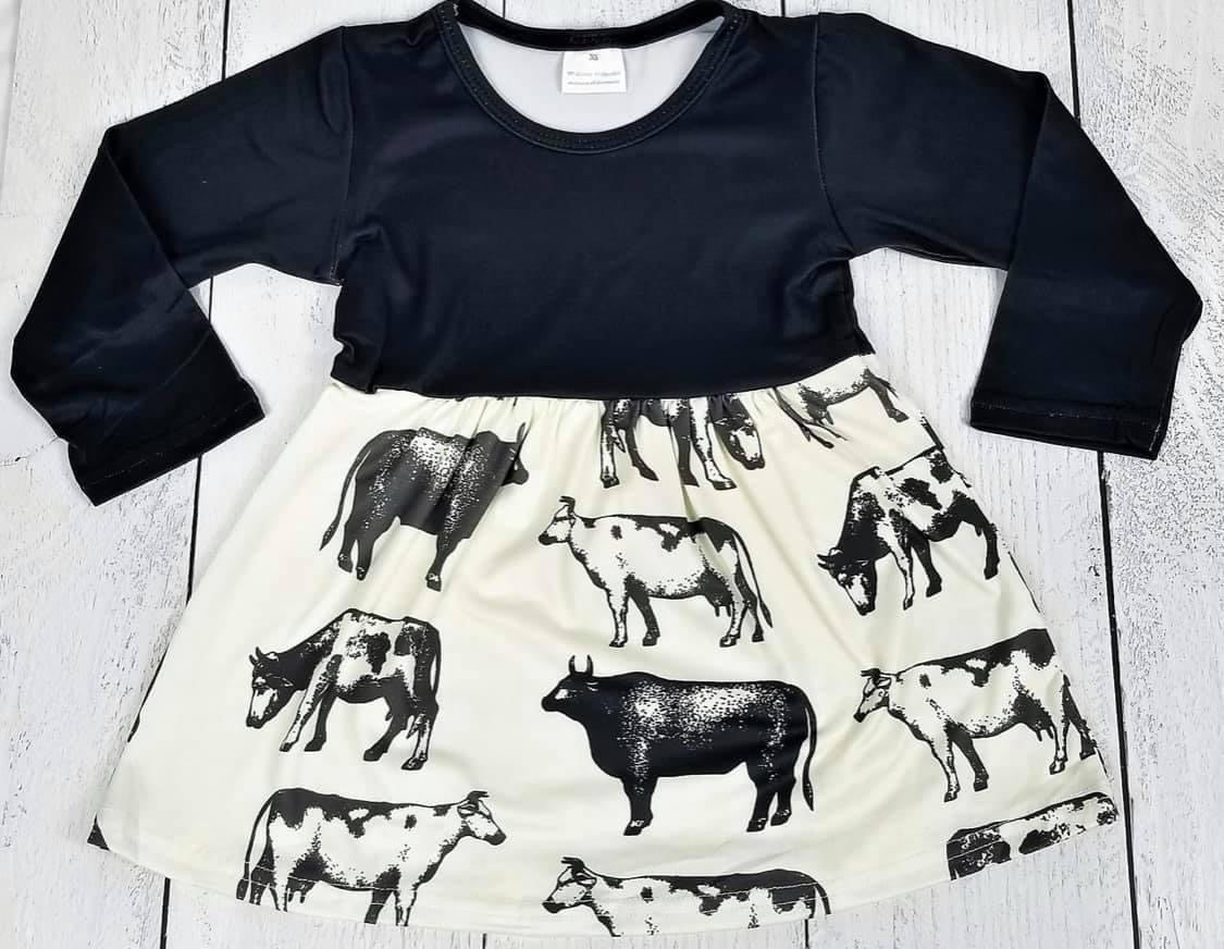 BLK/WHITE MOO COW DRESS