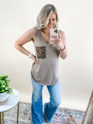 ASH MOCHA LEOPARD POCKET TANK - PLUS AVAIL