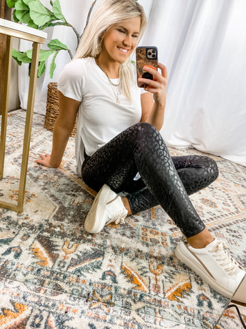 LEOPARD LEATHER LEGGINGS