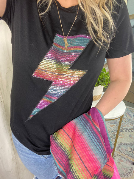 SEQUIN LIGHTNING BOLT TEE
