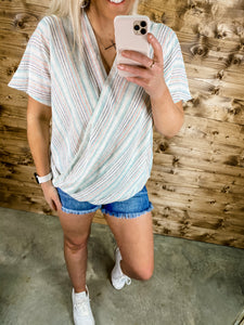 LINEN MULTI STRIPE TOP